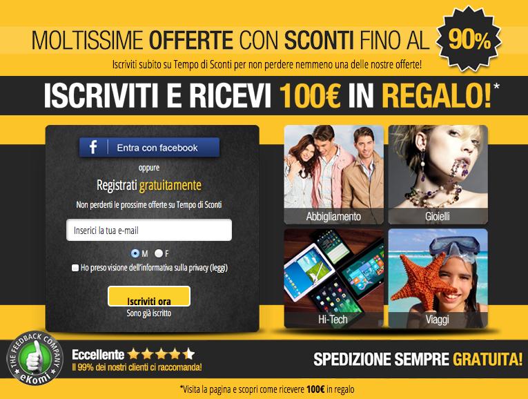 TempodiSconti - Offerta 100 Euro Gratis